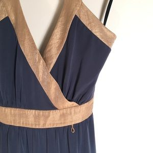 BCBG Paris Blue Gold Halter Cocktail Dress